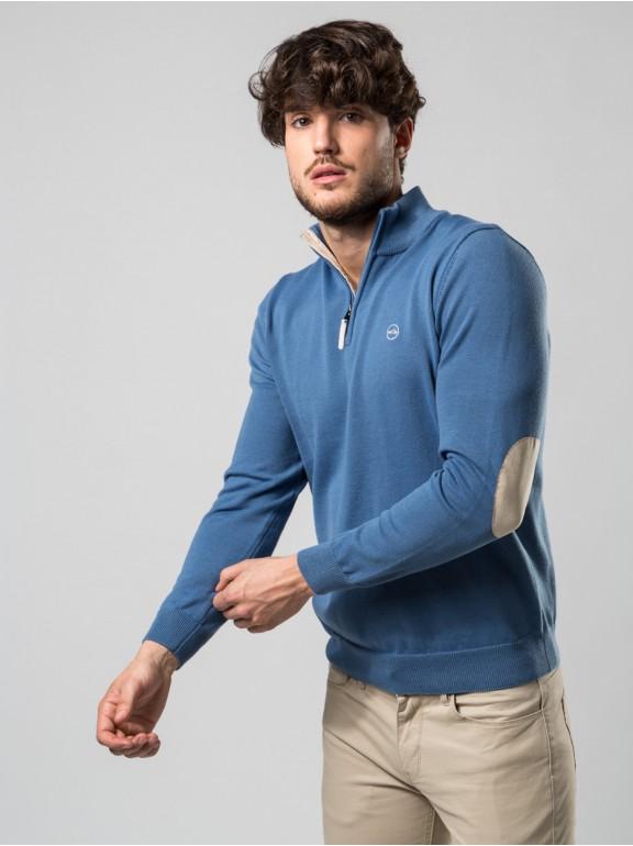 Jersey neck zipper