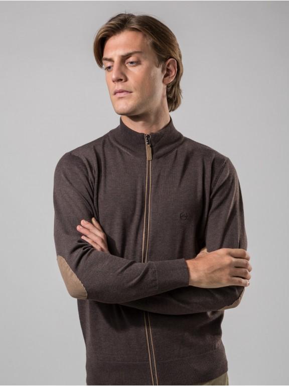Jaqueta de malha zipper