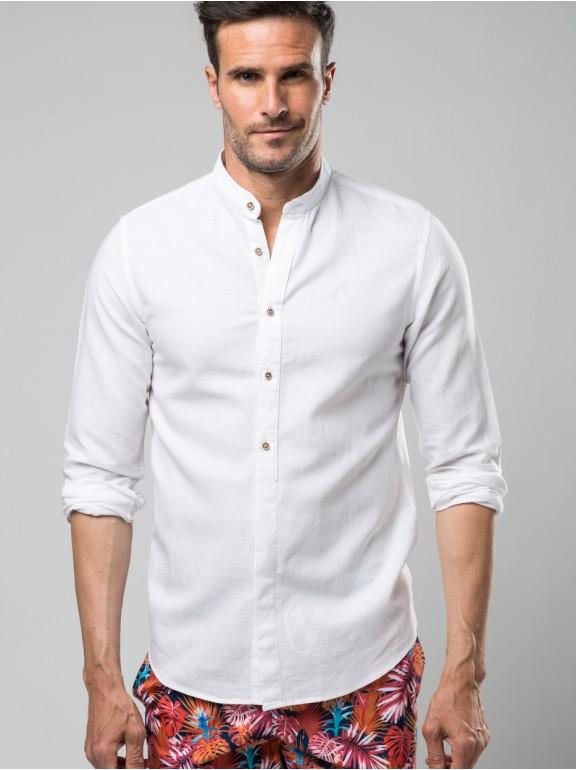 Smooth linen shirt mao collar