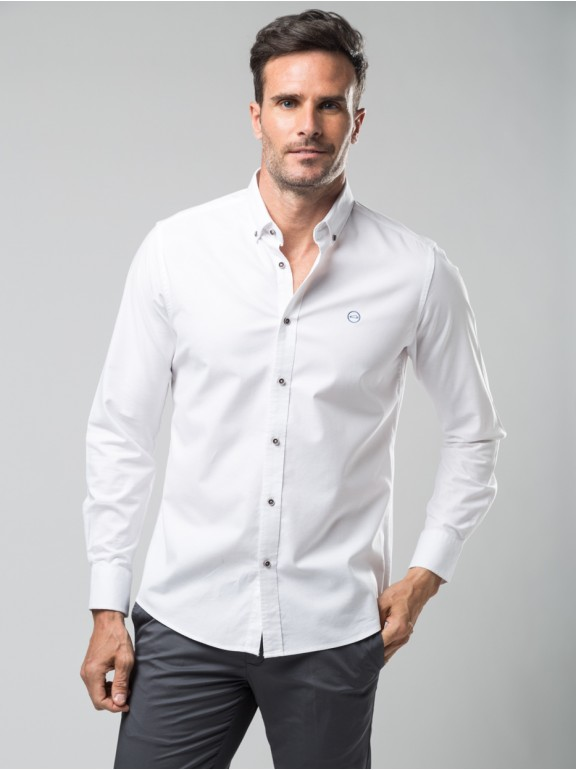 Camisa oxford elástica algodon